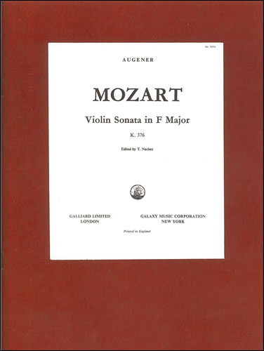 Mozart, Wolfgang Amadeus: Sonata No. 7 In F, K.376 With Piano