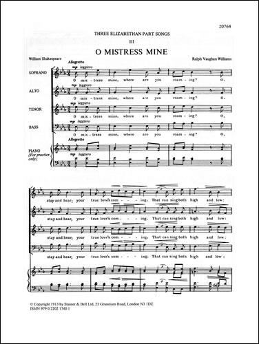 Vaughan Williams, Ralph: O Mistress Mine