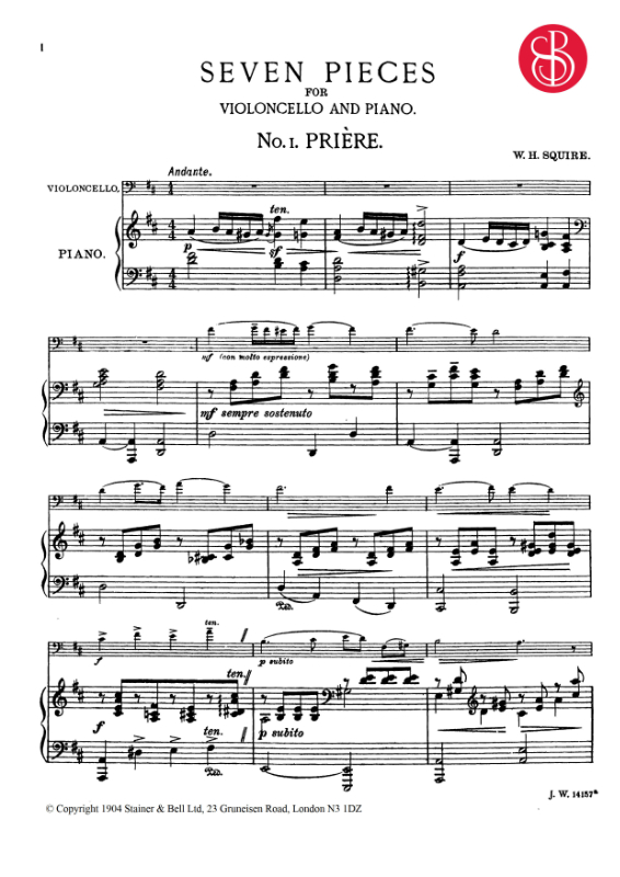 Squire, William Henry: Priere For Cello And Piano