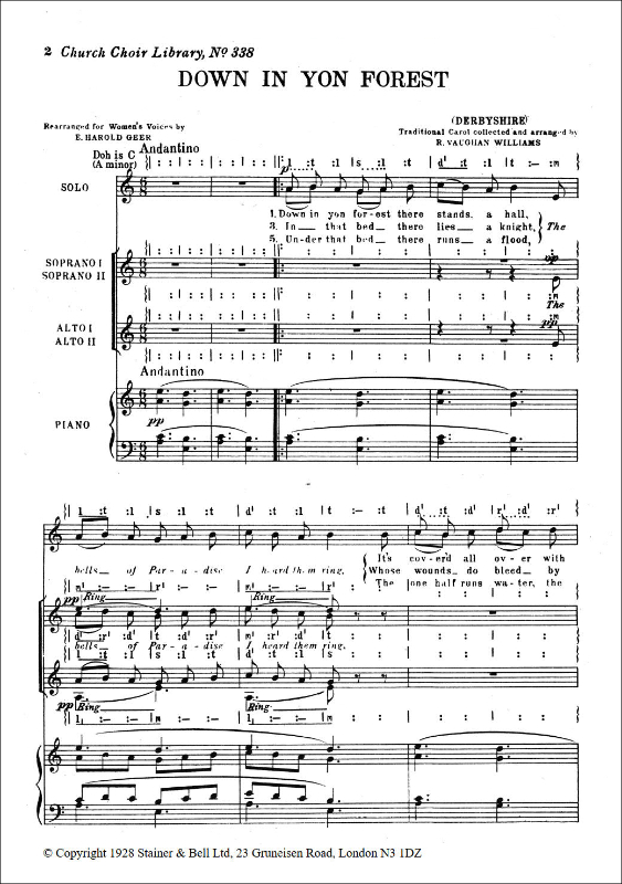 Vaughan Williams, Ralph: Down In Yon Forest. S Solo And SAA Chorus