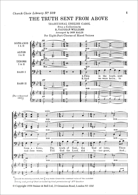 Vaughan Williams, Ralph: Truth Sent From Above, The. Arr. SSAATTBB