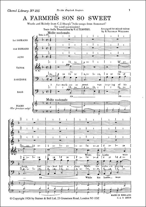 Vaughan Williams, Ralph: Farmer's Son So Sweet, A. SSATBarB