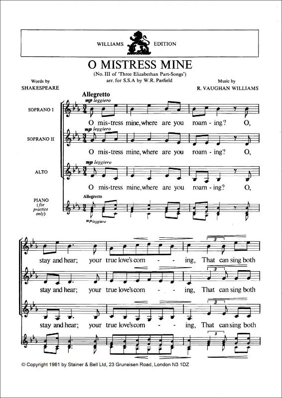Vaughan Williams, Ralph: O Mistress Mine. Arr. SSA