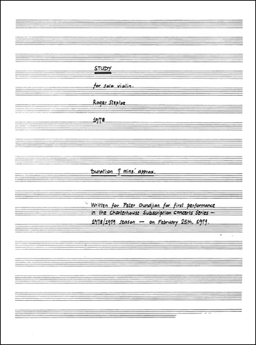 Steptoe, Roger: Study For Solo Violin