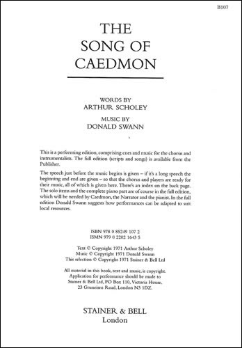 Scholey, Arthur & Swann, Donald: The Song Of Caedmon. Chorus Part