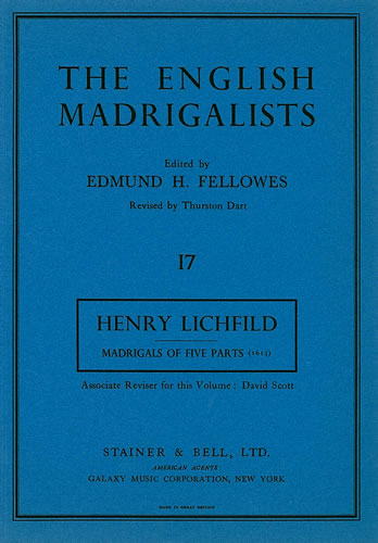 Lichfild, Henry: First Set Of Madrigals Of Five Parts (1613)