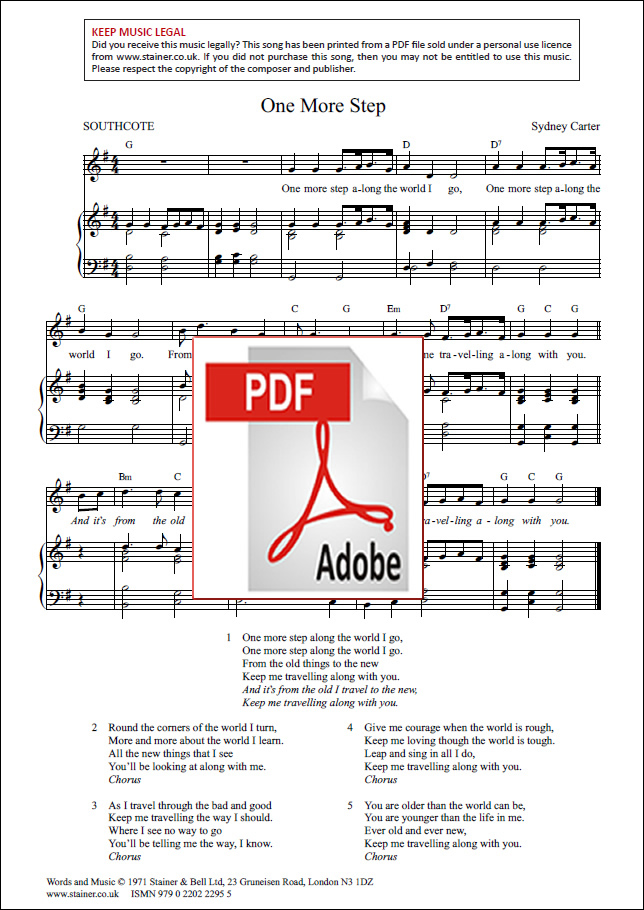 carter  sydney  one more step  piano  vocal and guitar  pdf file