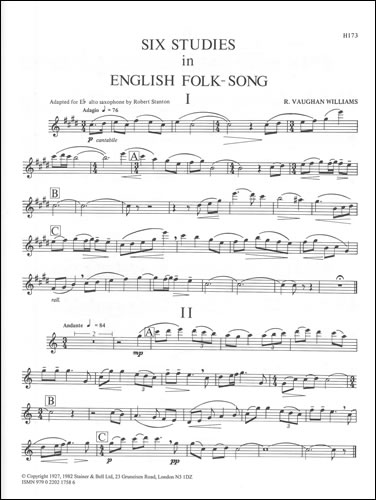 Vaughan Williams, Ralph: Six Studies In English Folk Song. E Flat Saxophone Part