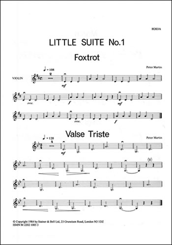Martin, Peter: Little Suites For Solo Or Unison Violins And Piano. Book 1: Extra Violin Part