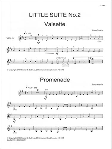 Martin, Peter: Little Suites For Solo Or Unison Violins And Piano. Book 2: Extra Violin Part