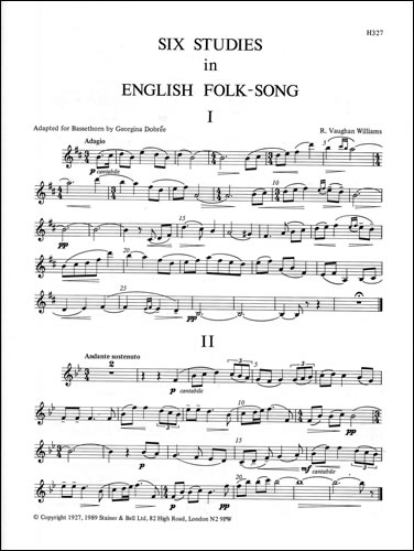 Vaughan Williams, Ralph: Six Studies In English Folk Song. Basset-horn Part