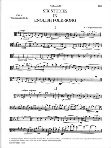 Vaughan Williams, Ralph: Six Studies In English Folk Song. Viola Part