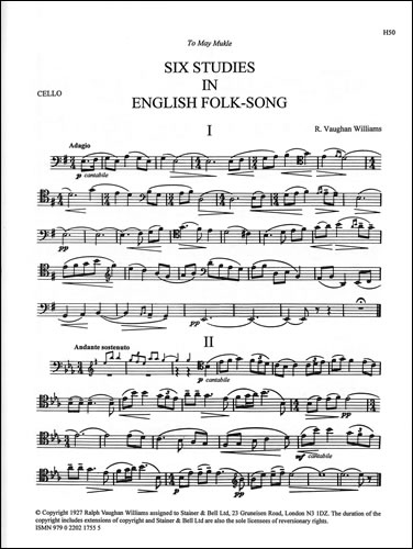 Vaughan Williams, Ralph: Six Studies In English Folk Song. Cello Part