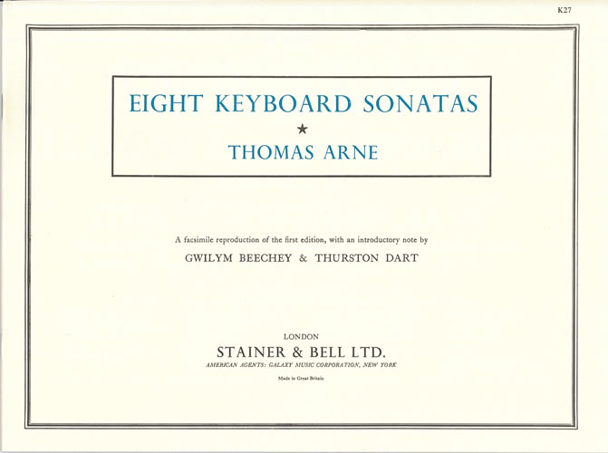 Arne, Thomas: Eight Keyboard Sonatas