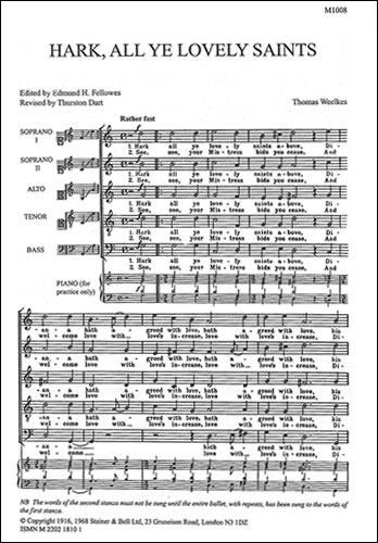 Weelkes, Thomas: Hark, All Ye Lovely Saints Above