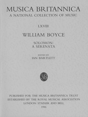 Boyce, William: Solomon: A Serenata