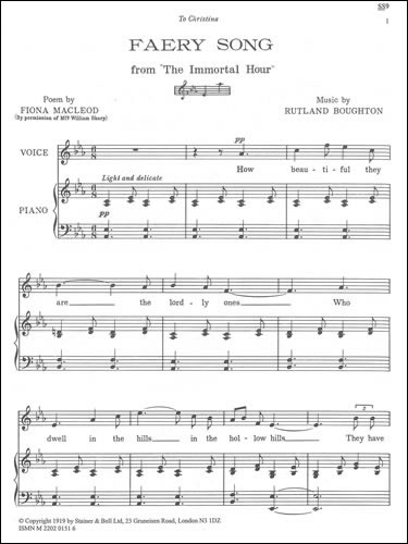 Boughton, Rutland: Faery Song (from The Immortal Hour). E Flat Major