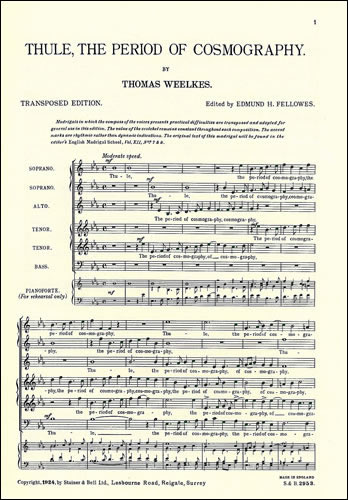 Weelkes, Thomas: The Andalusian Merchant With Thule, The Period Of Cosmography