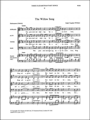 Vaughan Williams, Ralph: Willow Song, The. SATB