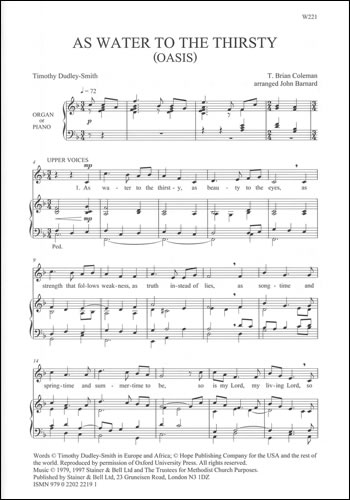 Coleman, T Brian: As water to the thirsty  SATB and Organ or Piano