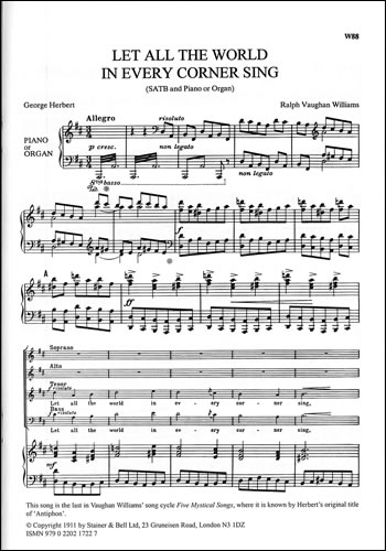 Vaughan Williams, Ralph: Let All The World In Every Corner Sing (Antiphon). SATB