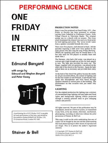 Banyard, Edmund: One Friday In Eternity. PERFORMING LICENCE