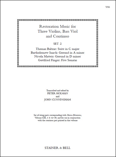 Restoration Music For Three Violins, Bass Viol And Continuo, Set 2
